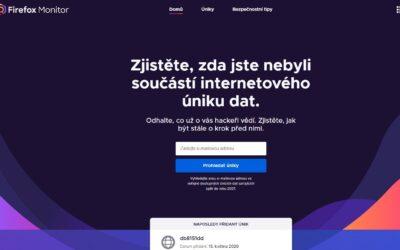 Firefox Monitor vás upozorní na úniky dat